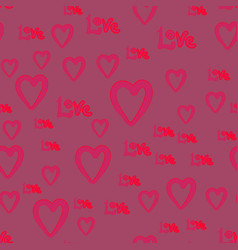 Handdrawn doodle cute hearts and love word vector