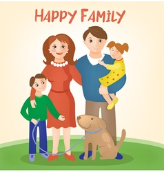 Happy family - parents with kids and dog vector