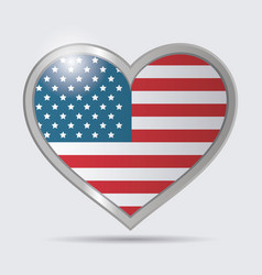 Heart usa flag glossy button emblem vector