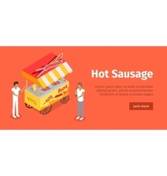Hot sausage trolley in isometric projection style vector