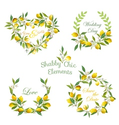 Lemons flowers leaves banners and tags floral vector