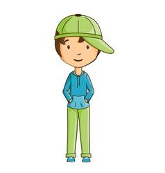 Little boy wearing cap vector image vector image