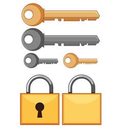 Locks and keys on white background vector