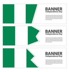 Nigeria flag banners collection independence day vector