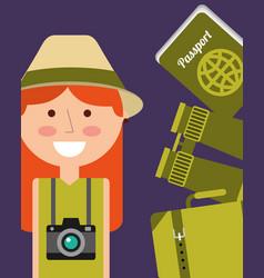 Portrait happy woman vacations passport binoculars vector