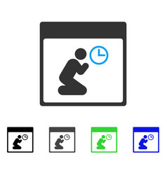 Pray clock calendar page flat icon vector