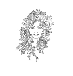 Print for the coloring book portrait of a vector