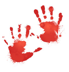 Red bloody hand prints with splashes vector