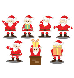 santa claus various joy action with gift vector image vector image