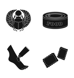 Scarab beetle food and other web icon in black vector