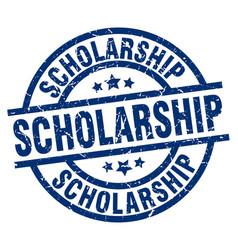 Scholarship blue round grunge stamp vector