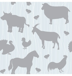 Seamless pattern with farm animals silhouettes vector
