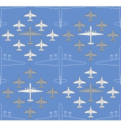 Seamless pattern with military airplanes 04 vector