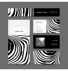 Set of abstract creative business cards zebra vector image