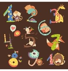 Set of Birthday Anniversary Numbers with Funny vector image vector image