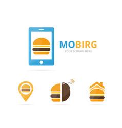 Set of burger logo combination hamburger and vector