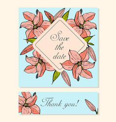 set of cards with lily floral motifs vector image