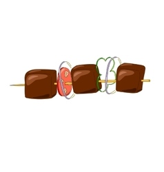 Shish kebab on a wooden stick with vegetables vector image