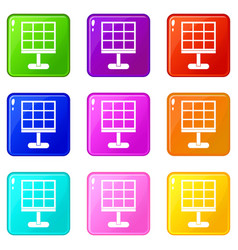 Solar battery icons 9 set vector
