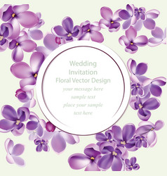 Spring delicate lilac flowers bouquet card vector