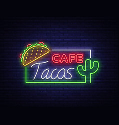 Tacos logo in neon style neon sign symbol vector