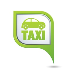 taxi with car icon on green pointer vector image vector image