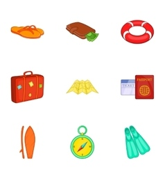 Travel to sea icons set cartoon style vector