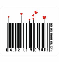valentines bar code vector image vector image