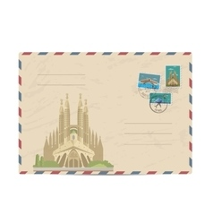 Vintage postal envelope with stamps vector image vector image