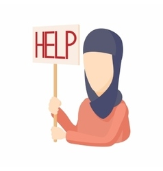 Woman in hijab with help sign icon cartoon style vector