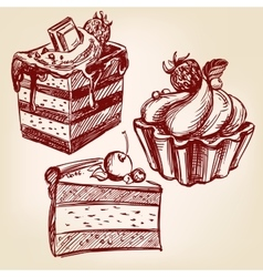 cakes fast food set hand drawn llustration vector image
