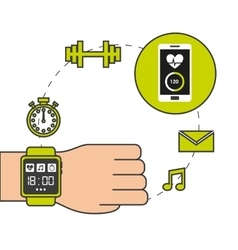 Smartwatch wearable technology icons vector