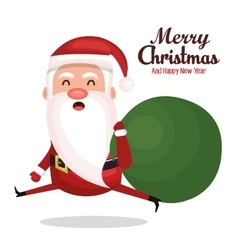 santa claus run bag gift merry christmas design vector image