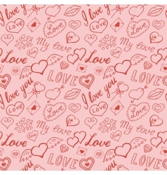 Seamless pattern of hearts and handwriting vector