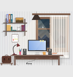 Male teenager room with workplace modern man vector