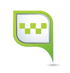 taxi with sign icon on green pointer vector image