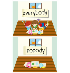 Opposite word for everybody and nobody vector