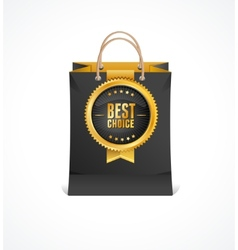 Paper bag and gold label best choice vector