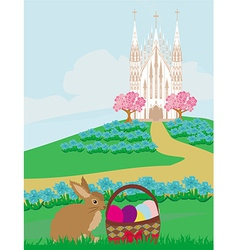 Easter landscape with eggs and sweet bunny vector