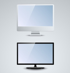 White and black lcd monitor template vector