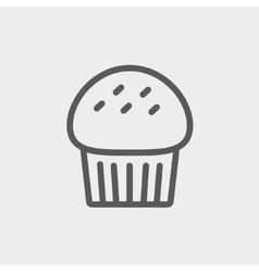 Cupcake thin line icon vector
