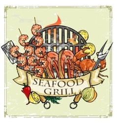 Bbq grill label design - seafood vector
