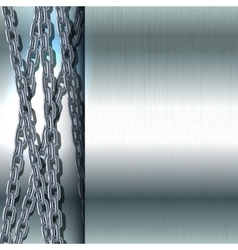 Chain stainless steel on metal background vector