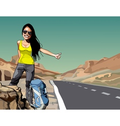 Cartoon cheerful woman with a backpack hitchhiking vector