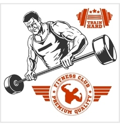 Bodybuilder and bodybuilding fitness logos emblems vector