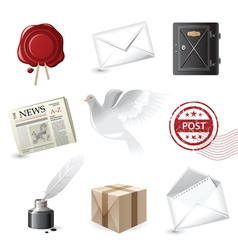 Highly detailed post icons set vector
