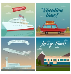 Travel banners sea holidays passenger ship tourism vector