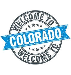 Welcome to colorado blue round vintage stamp vector