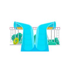 Aqua park water slide icon vector