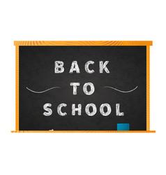 Back to school chalk lettering on blackboard on vector